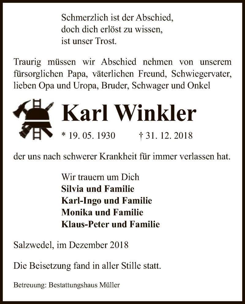 Traueranzeige für Karl Winkler vom 10.01.2019 aus Uelzen