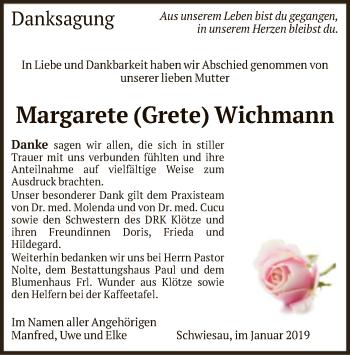Traueranzeige für Margarete Wichmann vom 10.01.2019 aus Uelzen