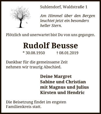Traueranzeige für Rudolf Beusse vom 12.01.2019 aus Uelzen