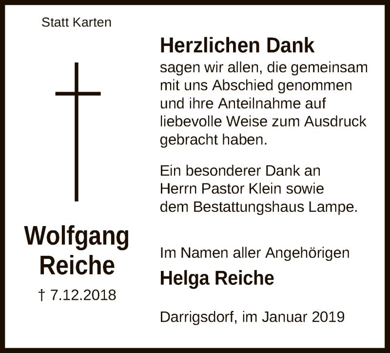 Traueranzeige für Wolfgang Reiche vom 12.01.2019 aus Uelzen