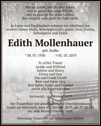 Traueranzeige von Edith Mollenhauer von Uelzen