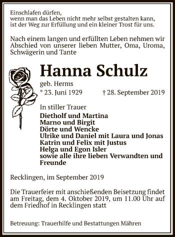 Traueranzeige von Hanna Schulz von Uelzen