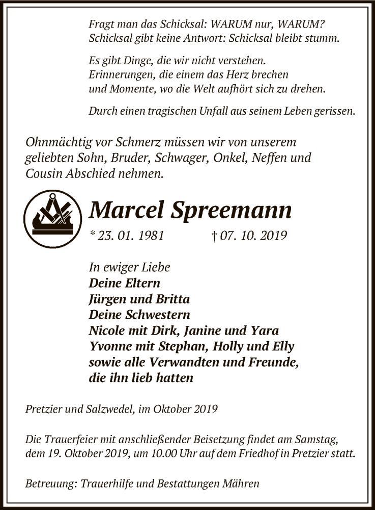 Traueranzeige für Marcel Spreemann vom 17.10.2019 aus Uelzen