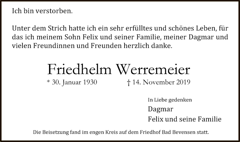 Traueranzeige für Friedhelm Werremeier vom 23.11.2019 aus Uelzen