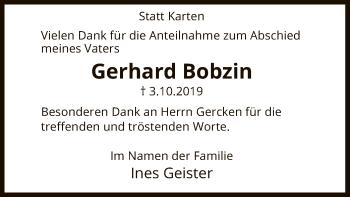 Traueranzeige von Gerhard Bobzin von Uelzen