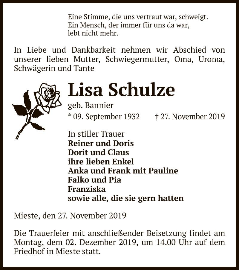 Traueranzeige für Lisa Schulze vom 28.11.2019 aus Uelzen