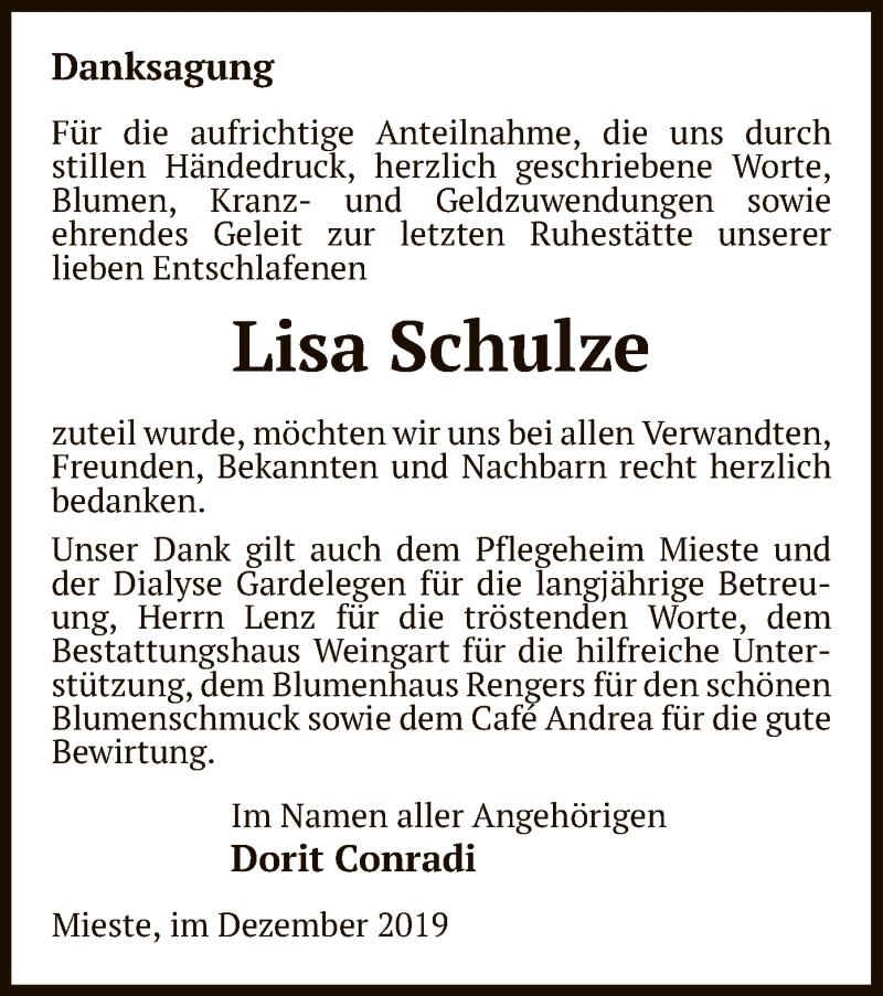 Traueranzeige für Lisa Schulze vom 07.12.2019 aus Uelzen