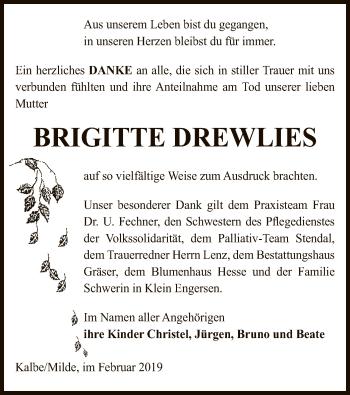 Traueranzeige für Brigitte Drewlies vom 02.02.2019 aus Uelzen