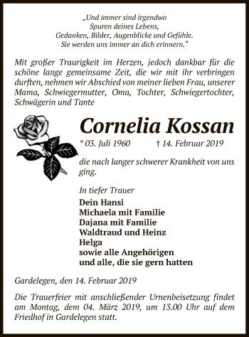 Traueranzeige für Cornelia Kossan vom 19.02.2019 aus Uelzen