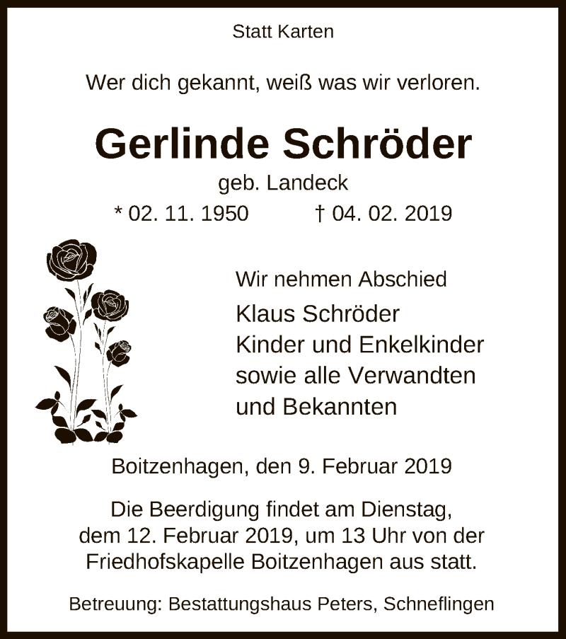 Traueranzeige für Gerlinde Schröder vom 09.02.2019 aus Uelzen