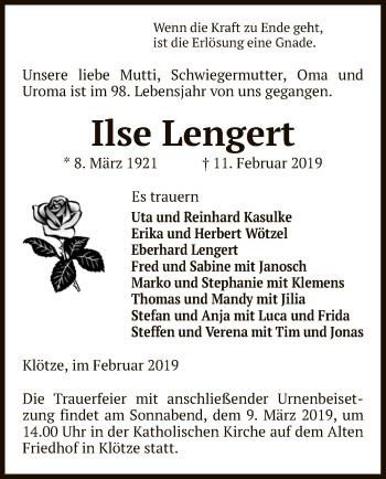 Traueranzeige für Ilse Lengert vom 22.02.2019 aus Uelzen