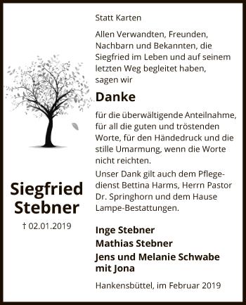 Traueranzeige für Siegfried Stebner vom 15.02.2019 aus Uelzen