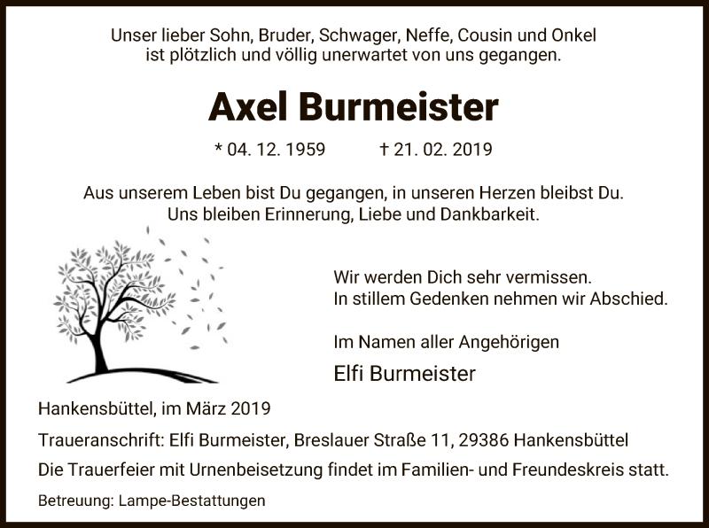 Traueranzeige für Axel Burmeister vom 11.03.2019 aus Uelzen