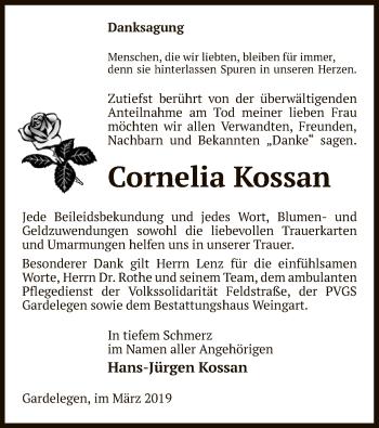 Traueranzeige für Cornelia Kossan vom 14.03.2019 aus Uelzen