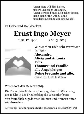 Traueranzeige für Ernst Ingo Meyer vom 14.03.2019 aus Uelzen