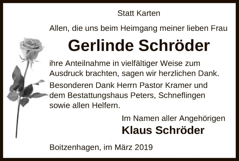 Traueranzeige für Gerlinde Schröder vom 02.03.2019 aus Uelzen