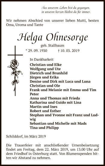 Traueranzeige für Helga Ohnesorge vom 13.03.2019 aus Uelzen