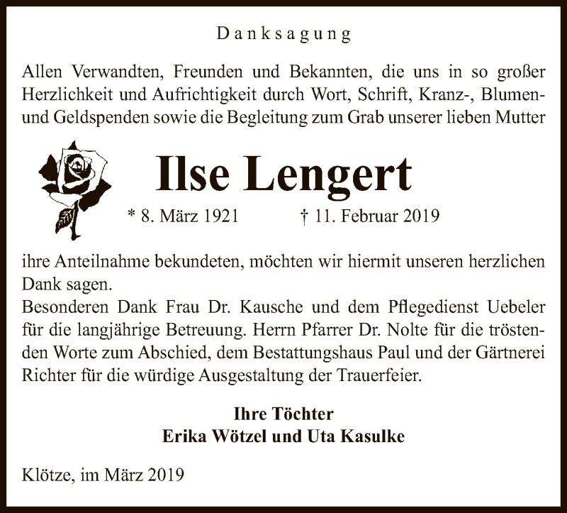 Traueranzeige für Ilse Lengert vom 15.03.2019 aus Uelzen