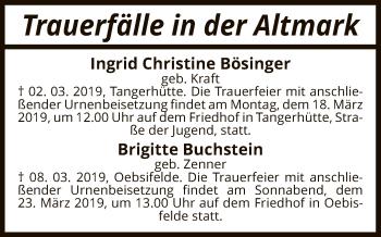 Traueranzeige für Totentafel vom 13.03.2019 vom 13.03.2019 aus Uelzen