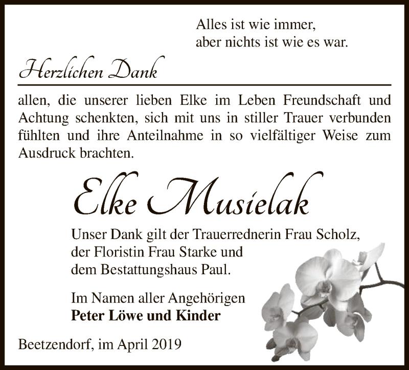 Traueranzeige für Elke Musielak vom 10.04.2019 aus Uelzen