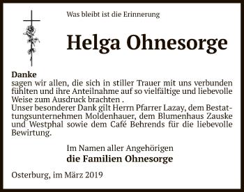 Traueranzeige für Helga Ohnesorge vom 30.03.2019 aus Uelzen