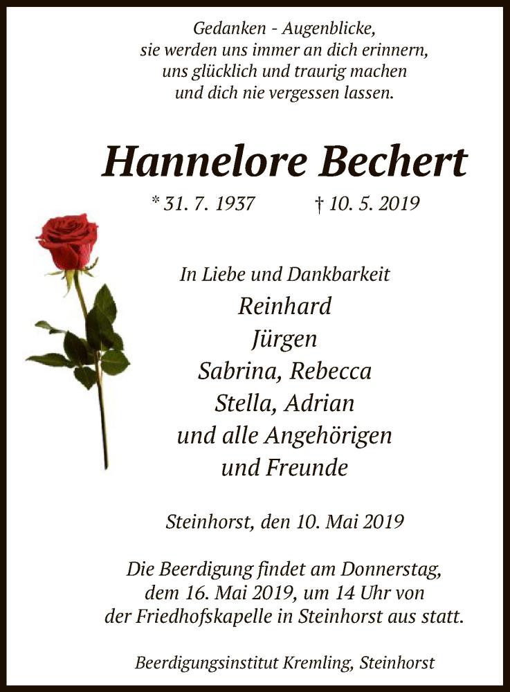 Traueranzeige für Hannelore Bechert vom 14.05.2019 aus Uelzen