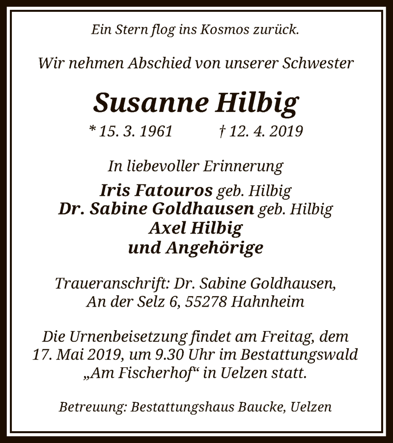 Traueranzeige für Hilbig Susanne vom 15.05.2019 aus Uelzen
