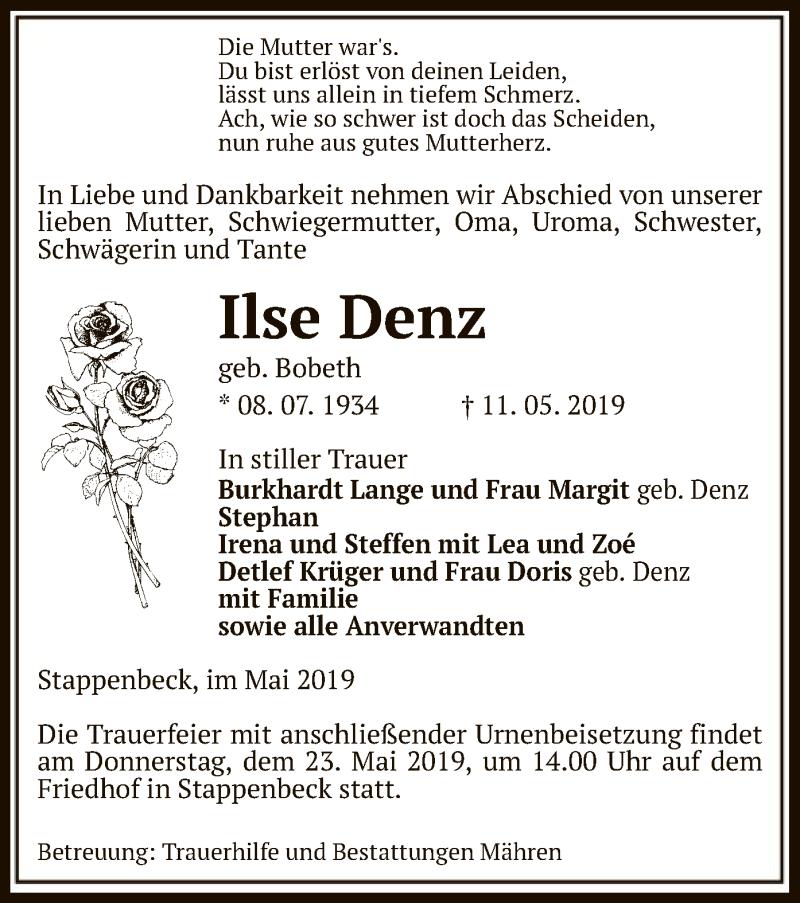 Traueranzeige für Ilse Denz vom 15.05.2019 aus Uelzen