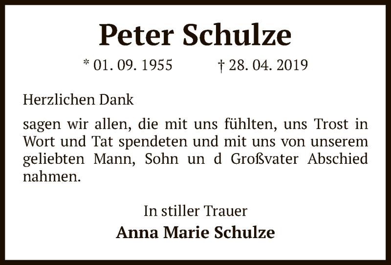 Traueranzeige für Peter Schulze vom 14.05.2019 aus Uelzen