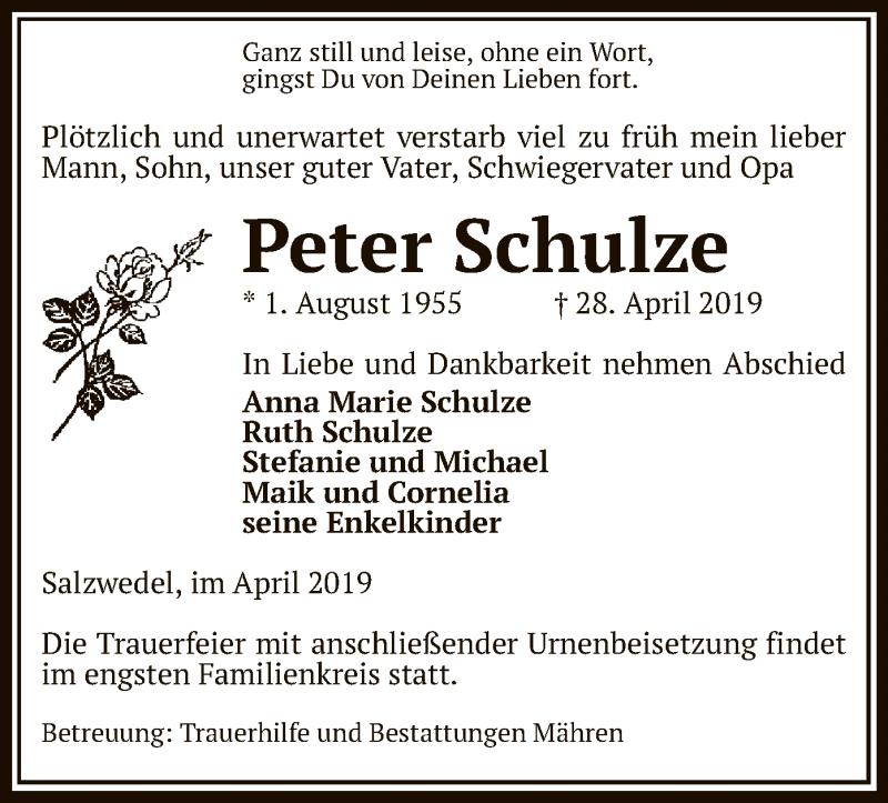 Traueranzeige für Peter Schulze vom 30.04.2019 aus Uelzen