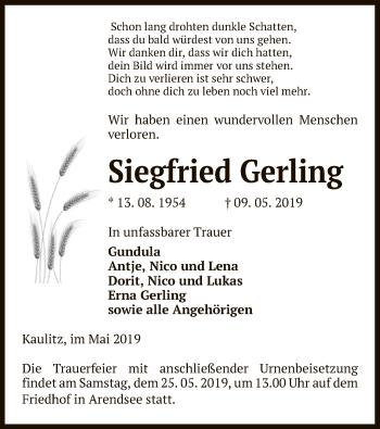 Traueranzeige für Siegfried Gerling vom 14.05.2019 aus Uelzen
