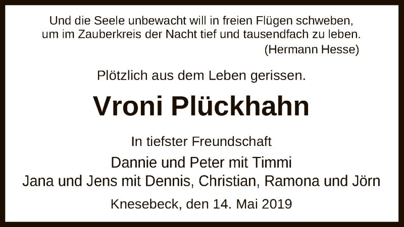 Traueranzeige für Vroni Plückhahn vom 14.05.2019 aus Uelzen