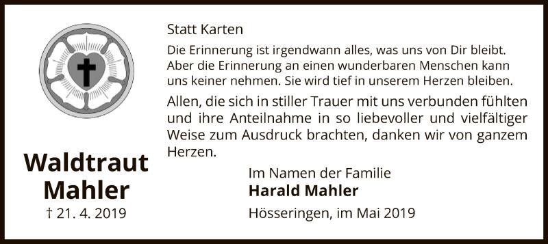 Traueranzeige für Waldtraut Mahler vom 15.05.2019 aus Uelzen
