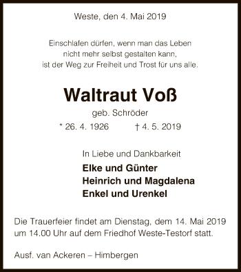Traueranzeige für Waltraut Voß vom 11.05.2019 aus Uelzen