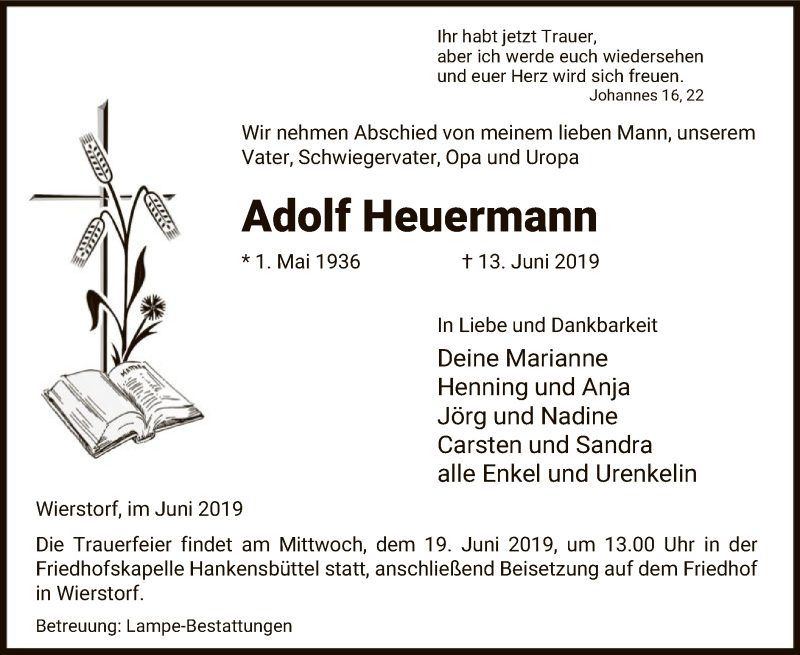 Traueranzeige für Adolf Heuermann vom 15.06.2019 aus Uelzen