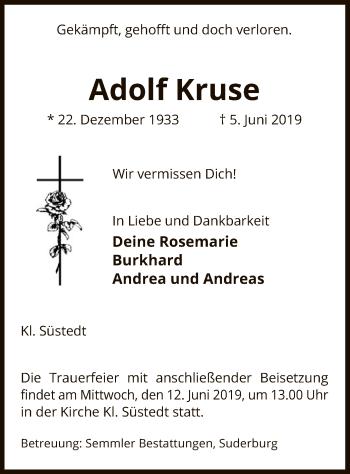 Traueranzeige für Adolf Kruse vom 08.06.2019 aus Uelzen