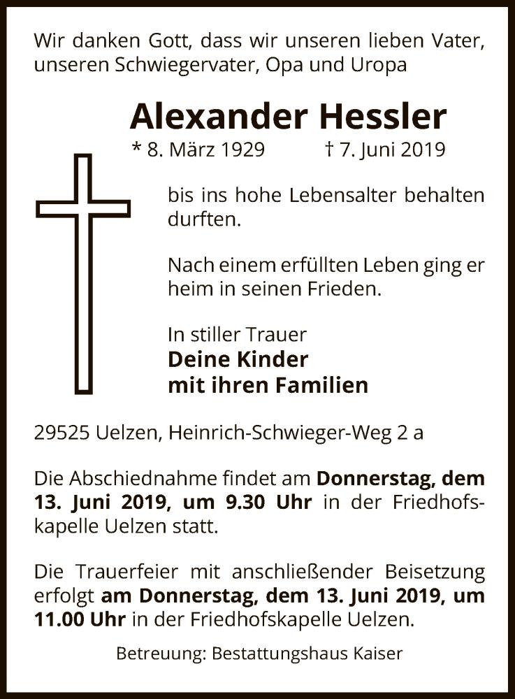 Traueranzeige für Alexander Hessler vom 12.06.2019 aus Uelzen