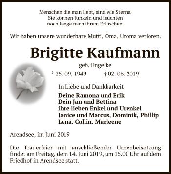 Traueranzeige für Brigittte Kaufmann vom 05.06.2019 aus Uelzen