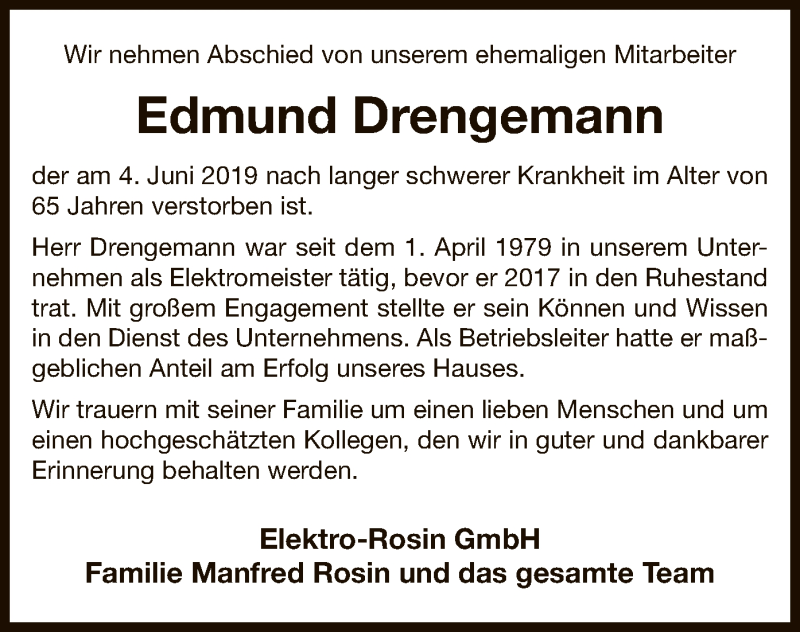 Traueranzeige für Edmund Drengemann vom 08.06.2019 aus Uelzen