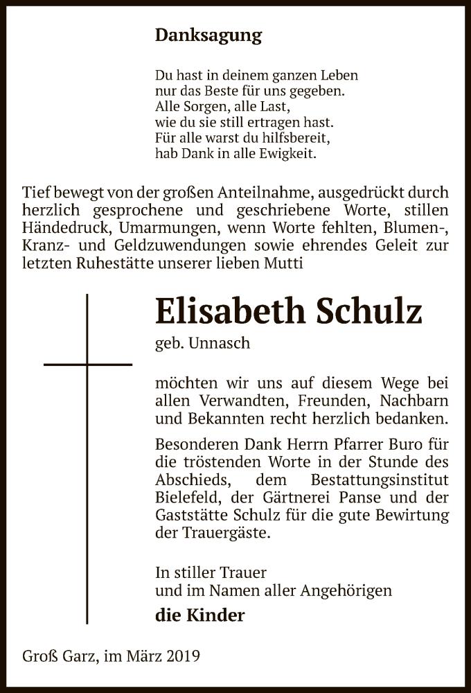 Traueranzeige für Elisabeth Schulz vom 13.04.2019 aus Uelzen