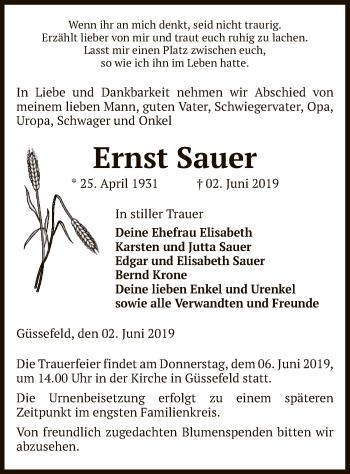 Traueranzeige für Ernst Sauer vom 04.06.2019 aus Uelzen