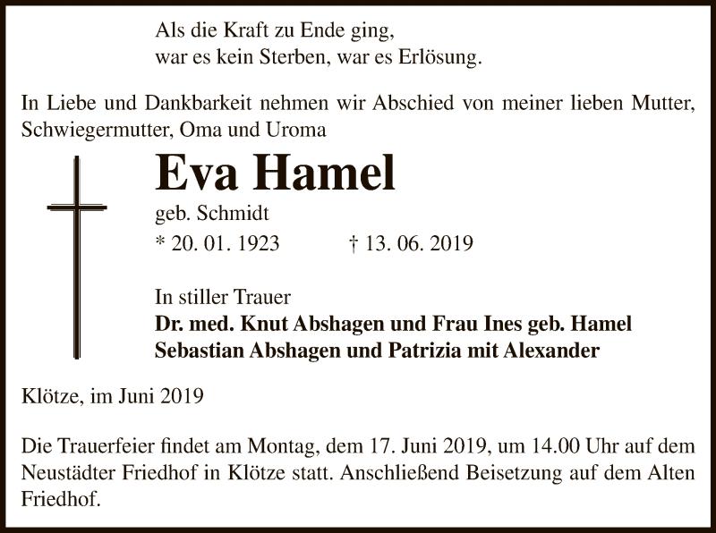 Traueranzeige für Eva Hamel vom 14.06.2019 aus Uelzen
