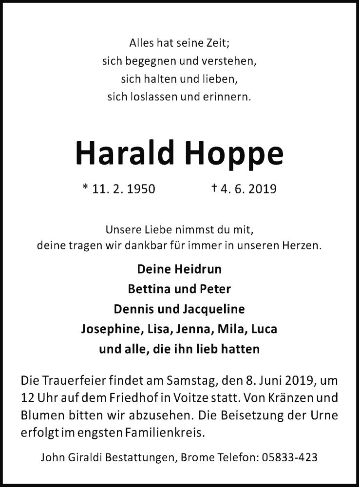 Traueranzeige für Harald Hoppe vom 06.06.2019 aus Uelzen