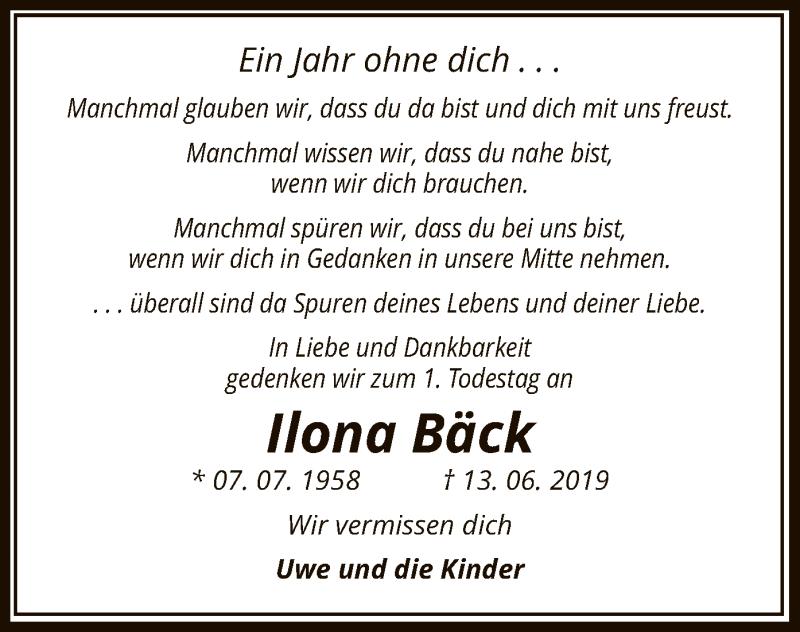 Traueranzeige für Ilona Bück vom 13.06.2019 aus Uelzen