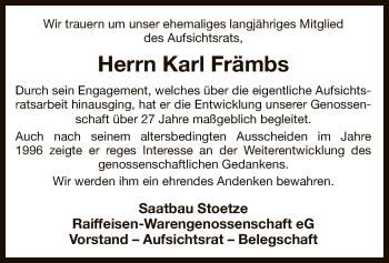 Traueranzeige für Karl Främbs vom 18.06.2019 aus Uelzen