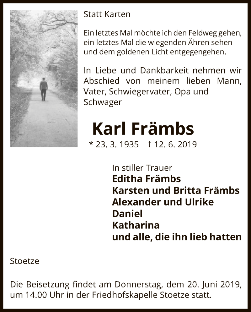 Traueranzeige für Karl Främbs vom 15.06.2019 aus Uelzen