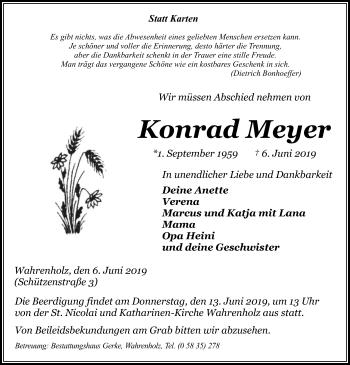 Traueranzeige für Konrad Meyer vom 12.06.2019 aus Uelzen