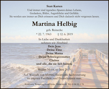 Traueranzeige für Martina Helbig vom 15.06.2019 aus Uelzen
