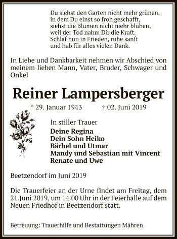 Traueranzeige für Reiner Lampersberger vom 06.06.2019 aus Uelzen