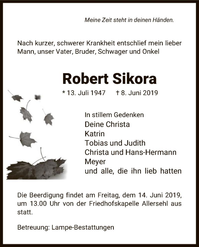 Traueranzeige für Robert Sikora vom 12.06.2019 aus Uelzen